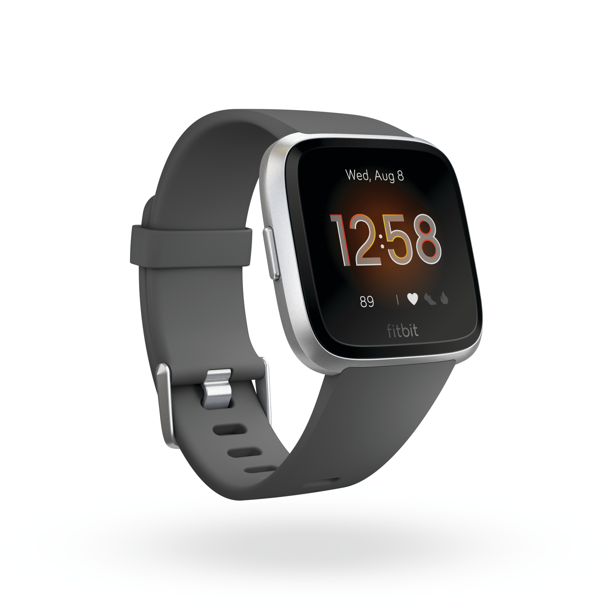 Product render of Fitbit Versa Lite Edition, 3QTR view, in Charcoal and Silver.,,Inbox exclusive to Fitbit Healh Solutions, LATAM, and APAC.