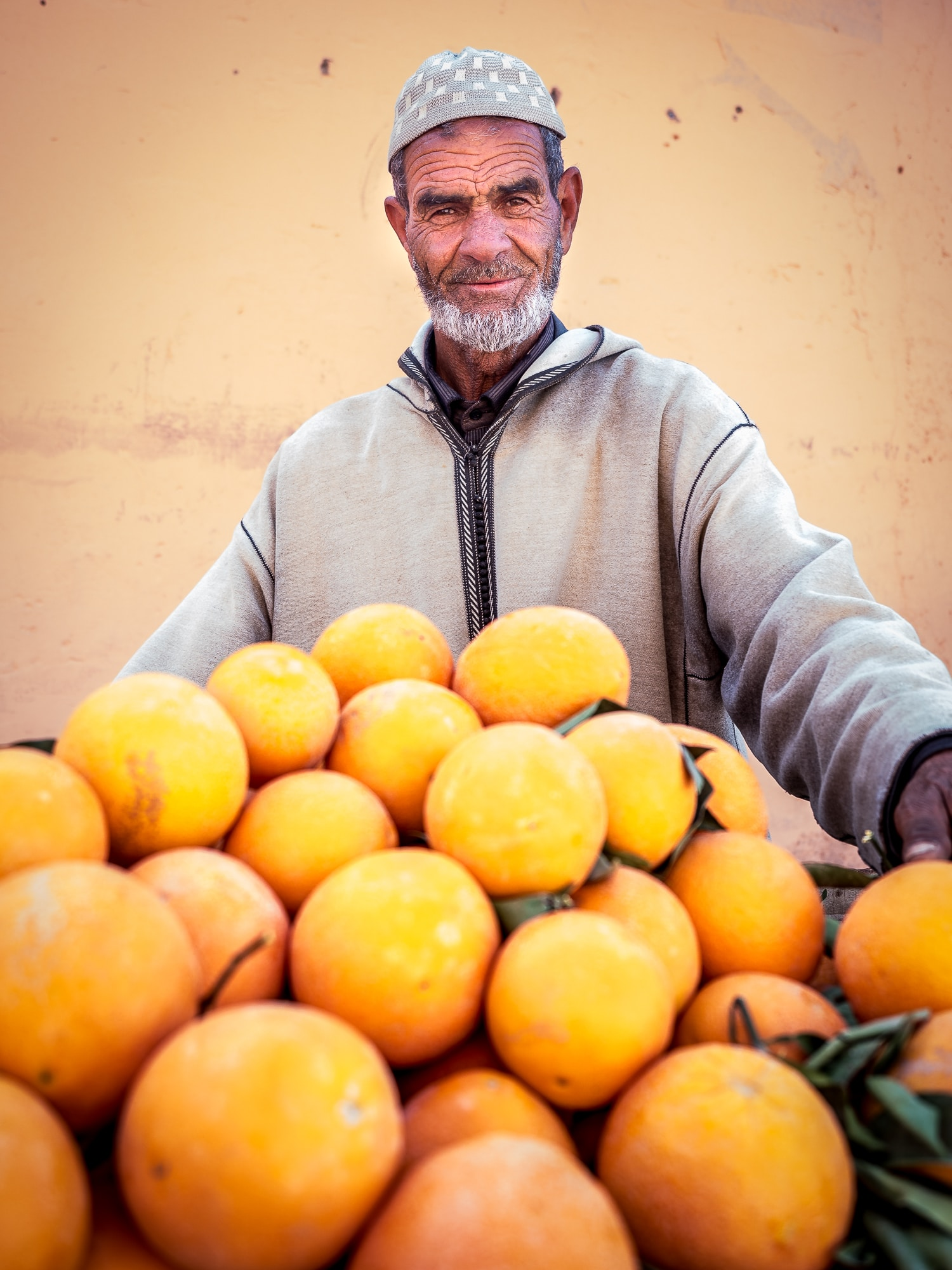 Man selling oranges in Marrakech